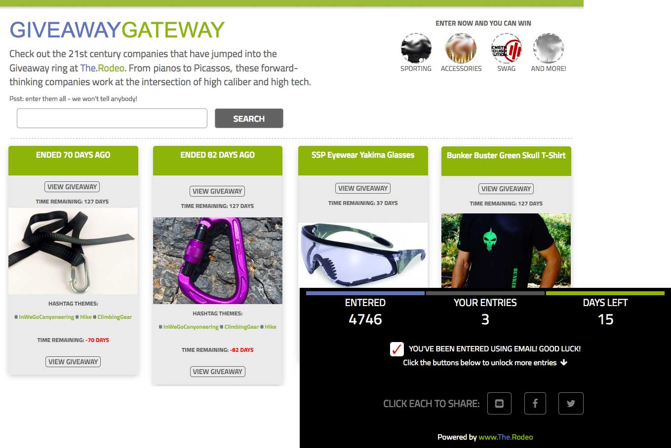 www.The.Rodeo's Giveaway Gateway Platform: The.Rodeo's display networks extends your brand's reach